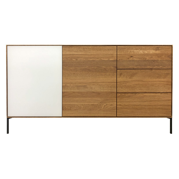 Skorgen Sideboard. Glass/oak doors & 3 drawers